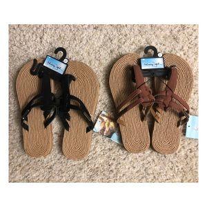 Shoes - Two black & Brown flat Sandal nwt